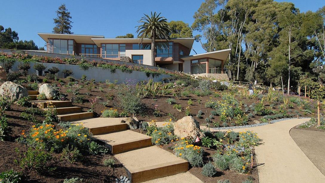 Southwestern style landscape of remodel home.