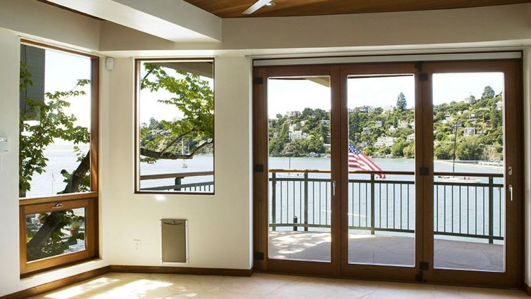 French doors leading out to deck overlooking Bellevue area.