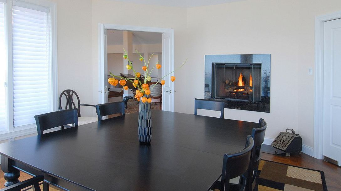 Black hardwood table in