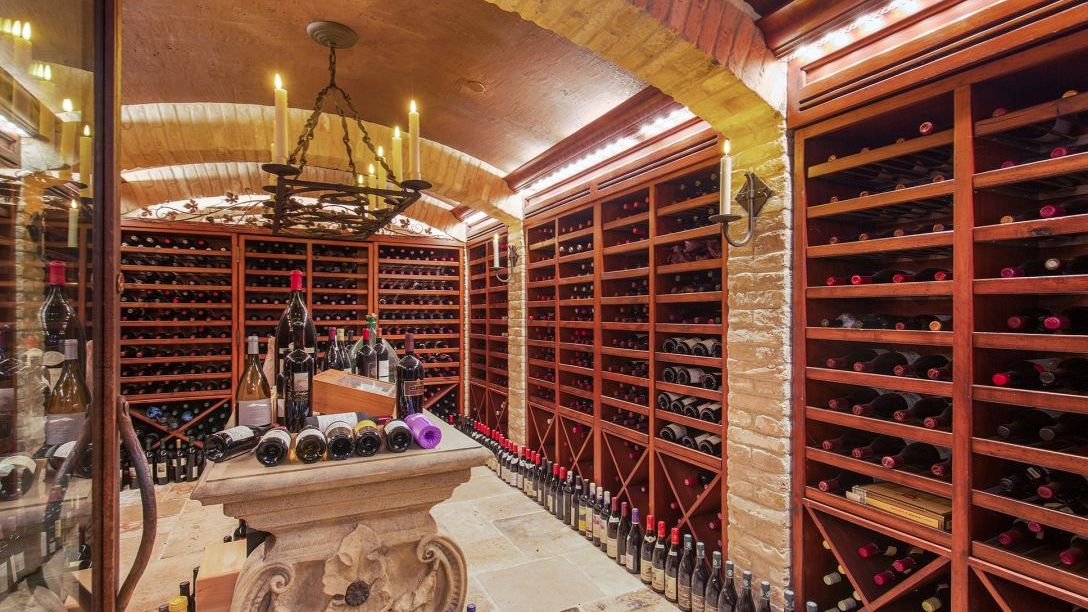 Wine cellar with stained wood.