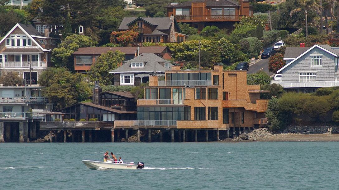 Far away shot of Tiburon Waterfront remodel.