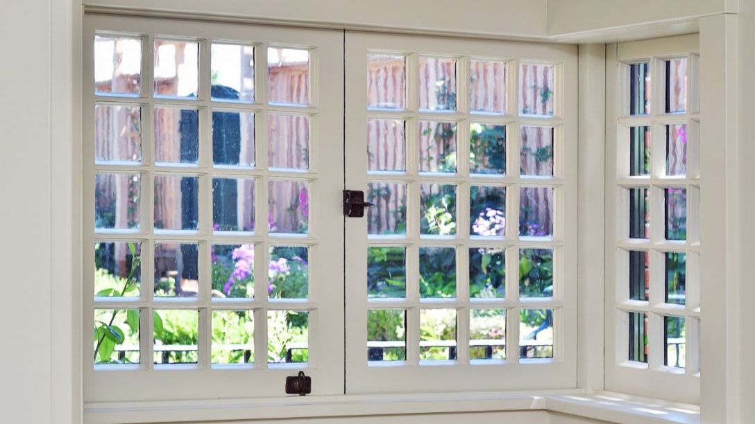 Up close of white windows in Golden Gate remodel home.