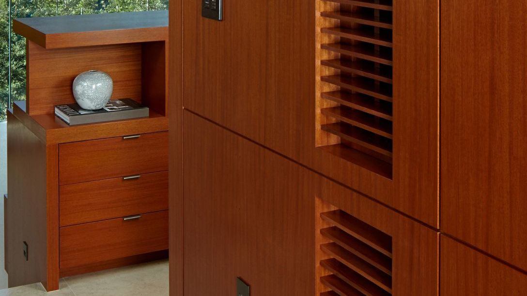 Close up of wooden cabinets.