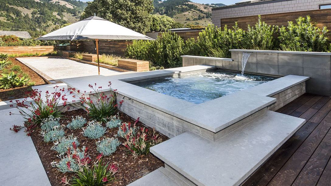 Jacuzzi and flower bed