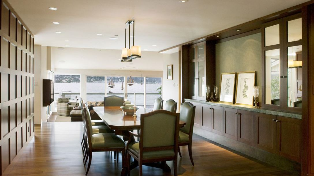 Dining room of Water Front remodel with views of the Bay further out.