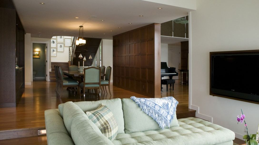 View of wooden dining room from family room