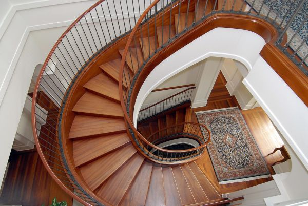 Aerial view of spiral wood staircase.