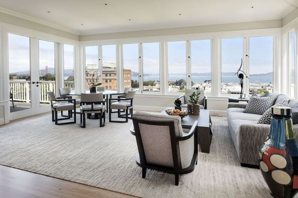 Living room of Pacific Heights remodel.